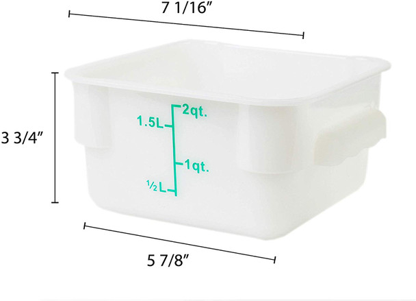 2 Qt. White Square Polycarbonate Food Storage Container w/ Color Gradations (PLSFT002PP)