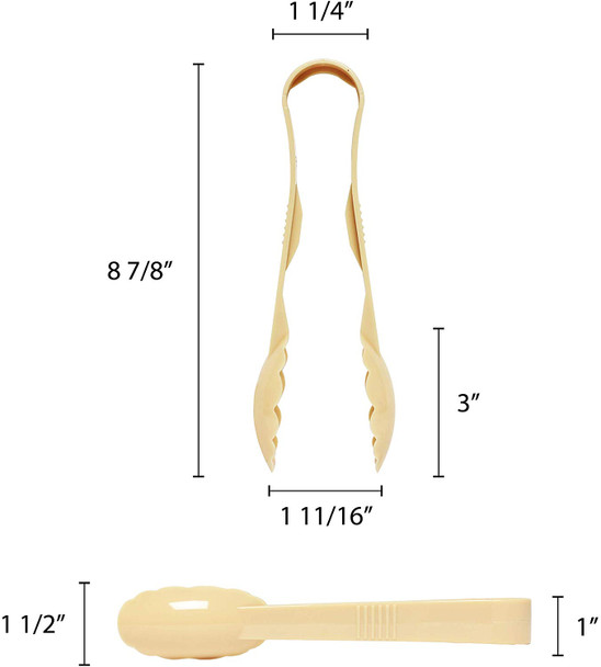 """9"""" Polycarbonate Scallop Grip Tongs - Beige (PLSGTG009BG)"""