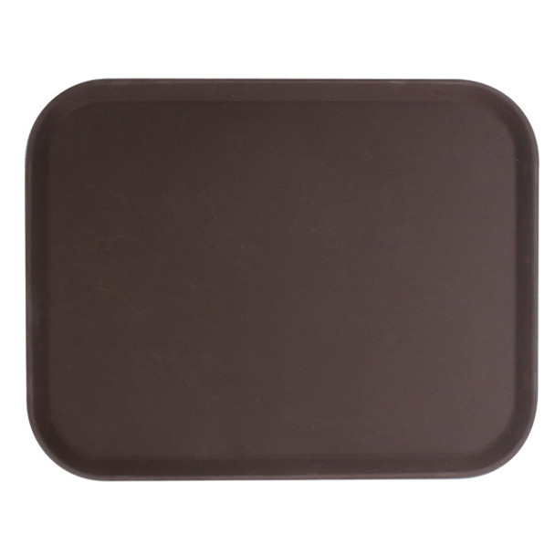 "14"" x 18"" Polypropylene Non-Skid Serving Tray - Brown"