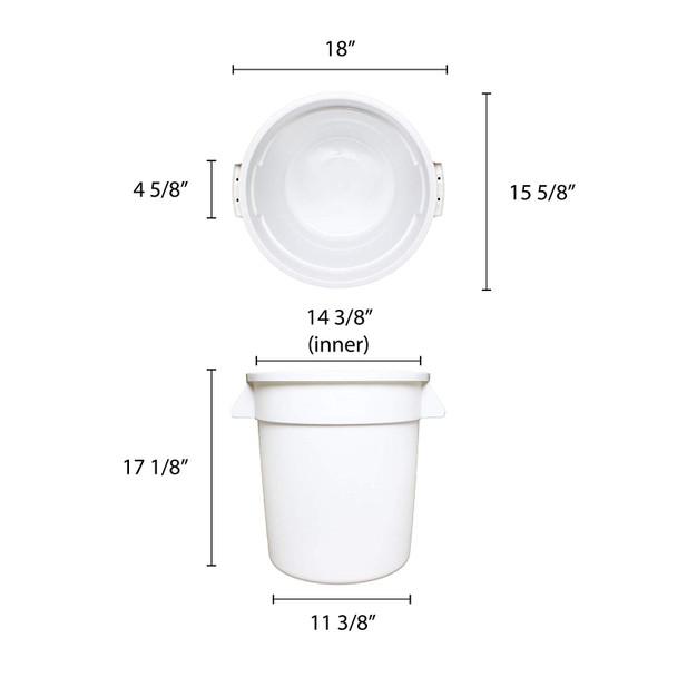 10 Gallon Polyethylene Trash Can - White (PLTC010W)