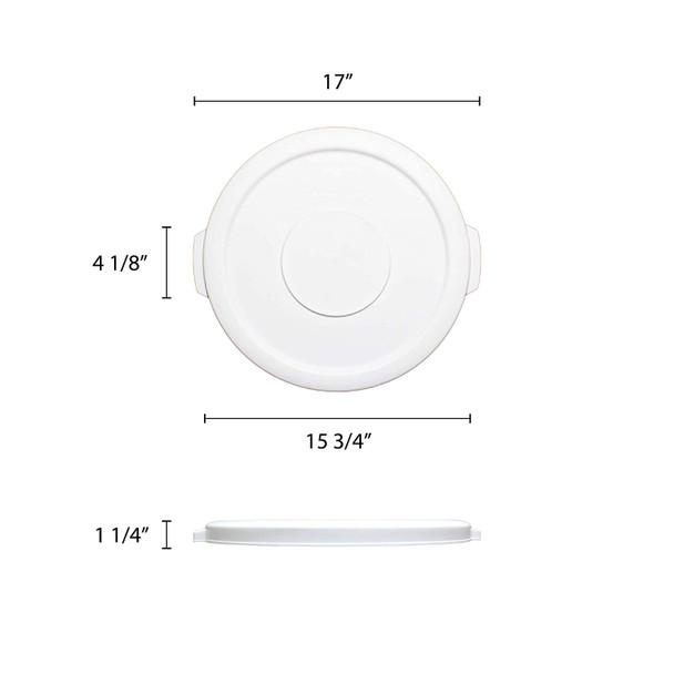 10 Gallon Polyethylene Trash Can Lid - White (PLTC010WL)