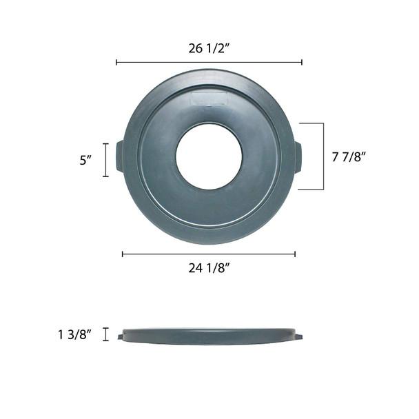 44 Gallon Polyethylene Trash Can Lid w/ Hole (PLTC044GH)