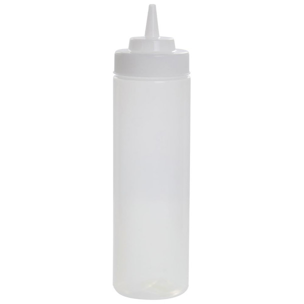 24 oz Plastic Wide Mouth Squeeze Bottles - Clear (PLTHSB024CW)