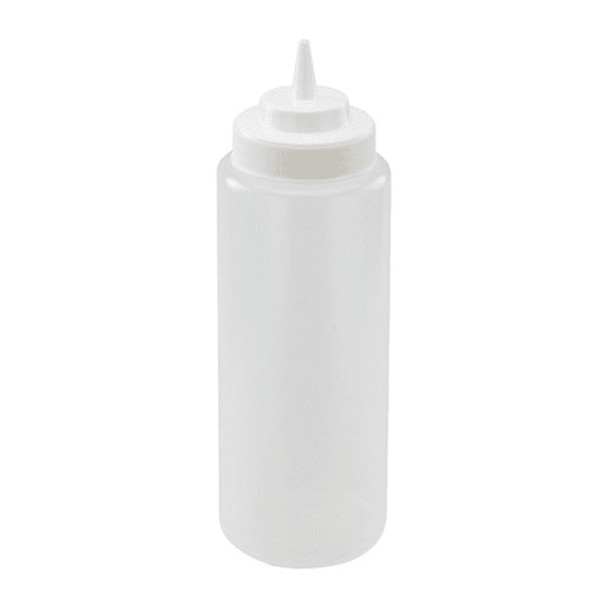 32 oz Plastic Wide Mouth Squeeze Bottles - Clear (PLTHSB032CW)