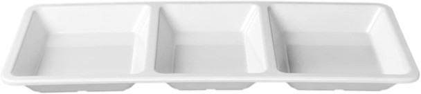 "Thunder Group Passion White, 3-Compartment Melamine Tray (PS5103W) 15"" x 6.25"" x 1.38"""