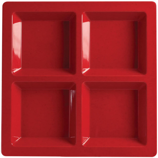 "Thunder Group Passion Red, 4-Compartment Melamine Tray (PS5104RD) 14"" x 14"" x 1.38"""