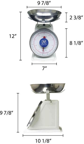 Thunder Group SCSL103 11lb Mechanical Dial Portion Control Scale w/ Removable Stainless Steel Bowl