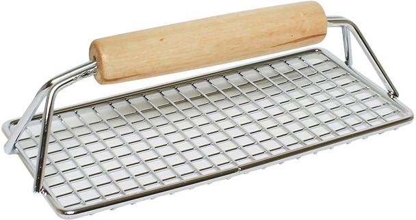 "8"" x 4"" Wood Handle Bacon Press (SLBP0804W)"