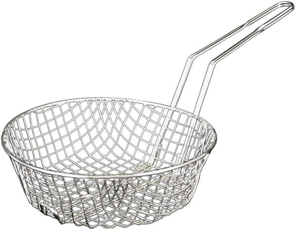 "8"" Round Nickel Plated Coarse Mesh Culinary Basket (SLCB008C)"