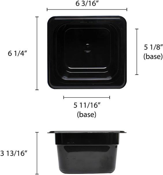 """Sixth Size Black Polycarbonate Food Pan - 4"""" Deep (PLPA8164BK)"""