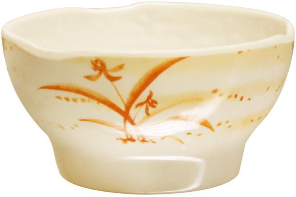 Thunder Group 3704 Gold Orchid 10 oz Round Melamine Wave Rice Bowl