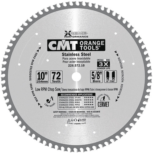 """10"""" x 72 tooth Stainless Steel Cutting Blade"""