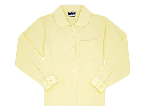 Midford Girl's Long Sleeve Peter Pan Blouse White sky blue and Lemon