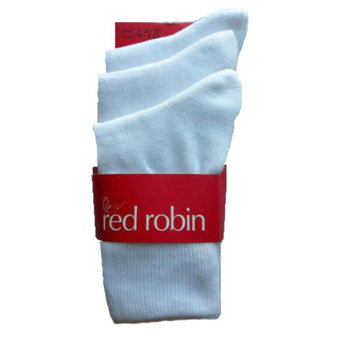 Red Robin School Socks White Pack of 3 on sale