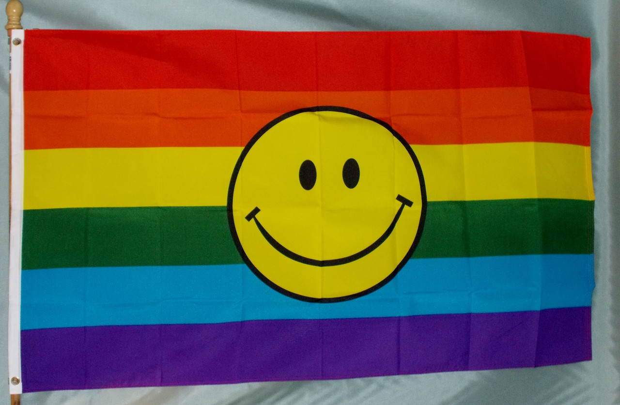 3x5 Rainbow Happy Face Poly Flag Banner Brass Grommets
