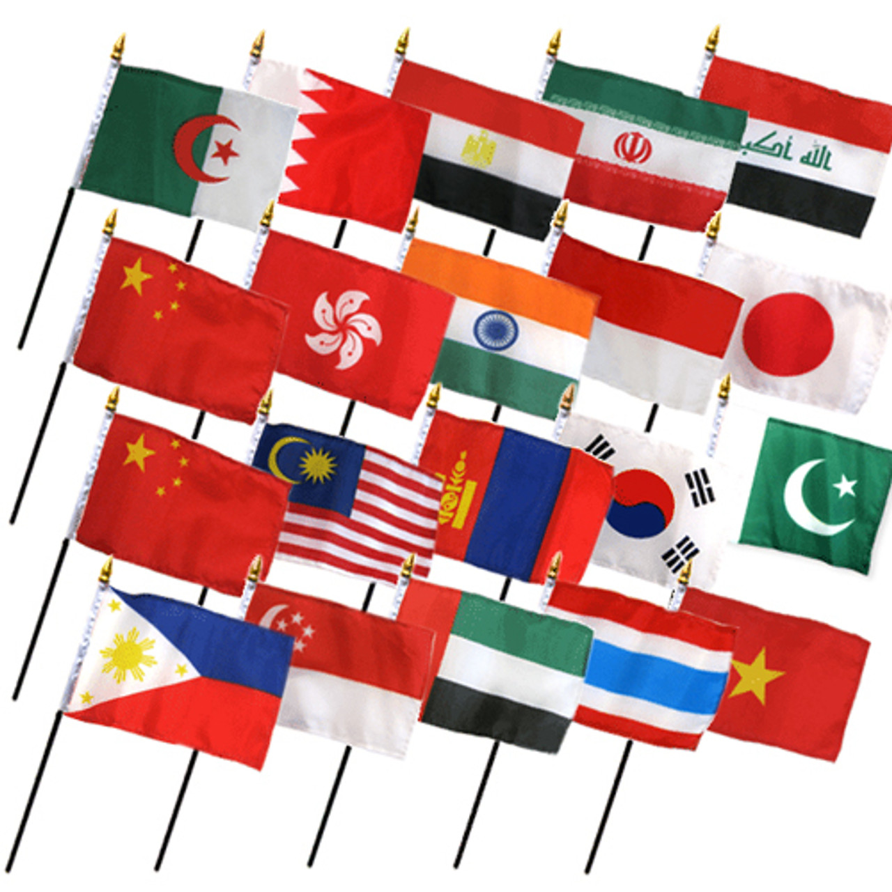 """20 ASIA 4X6"""" TABLE TOP FLAGS ONLY SET"""