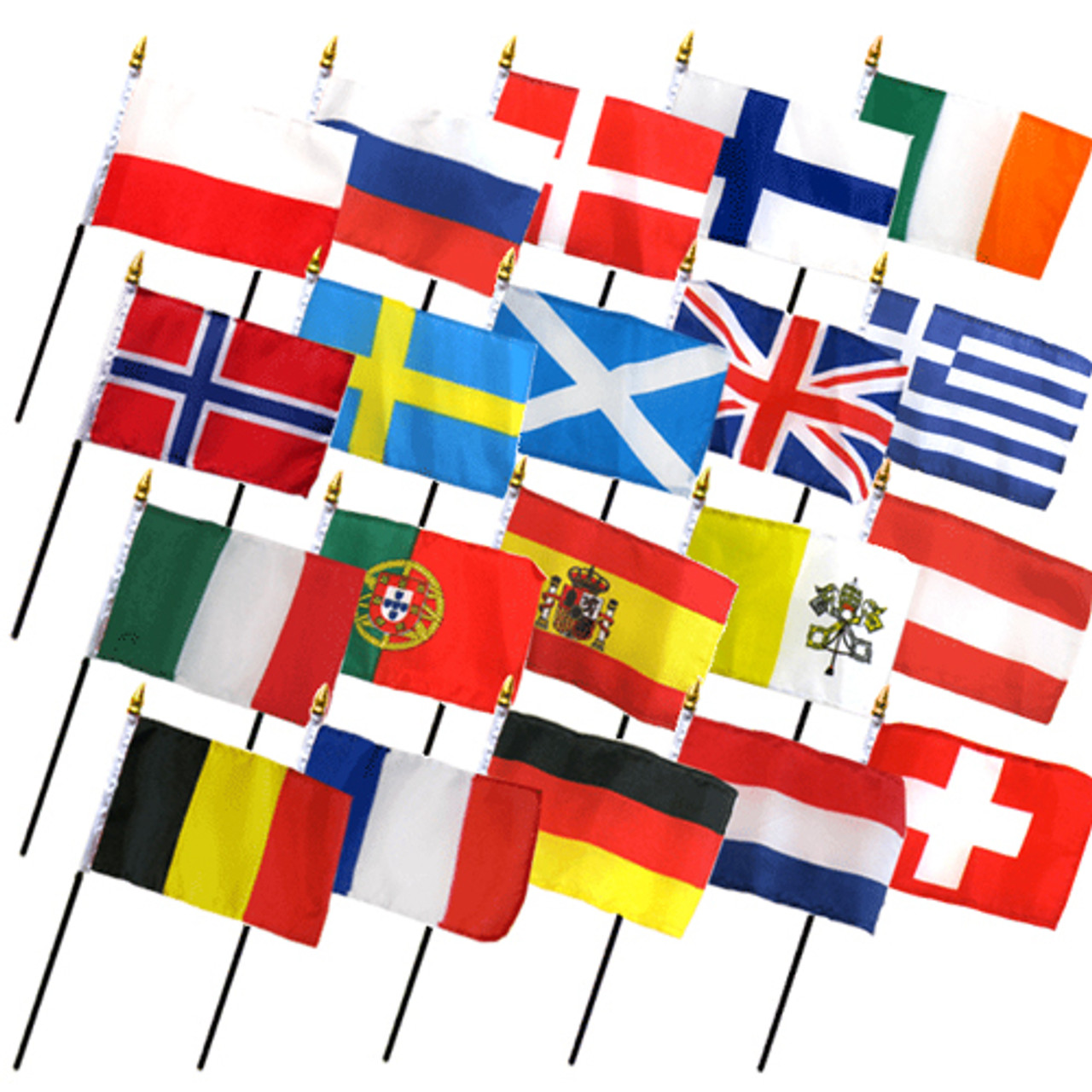 """20 EUROPEAN COUNTRIES 4X6"""" TABLE TOP FLAGS ONLY SET"""