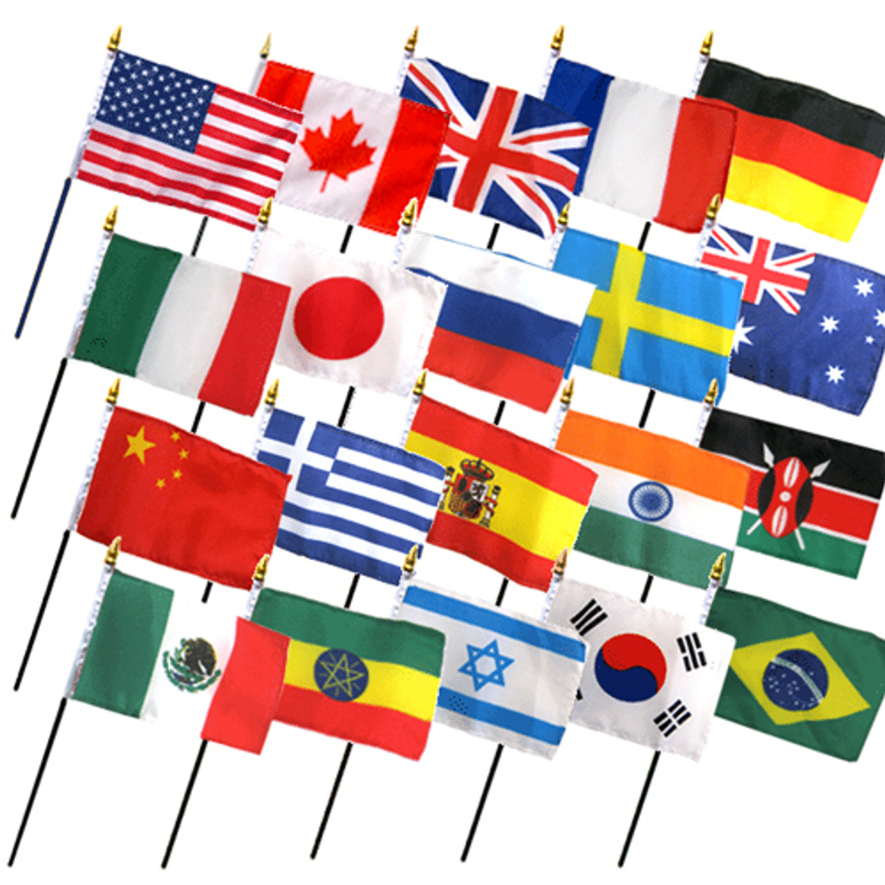 """20 INTERNATIONAL COUNTRIES 4X6"""" TABLE TOP FLAGS ONLY SET"""
