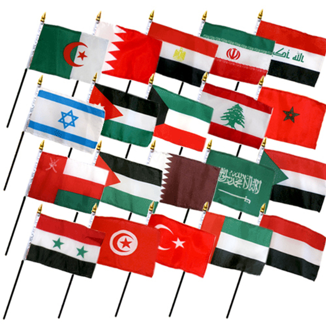 """20 MIDDLE EAST COUNTRIES 4X6"""" TABLE TOP FLAGS ONLY SET"""