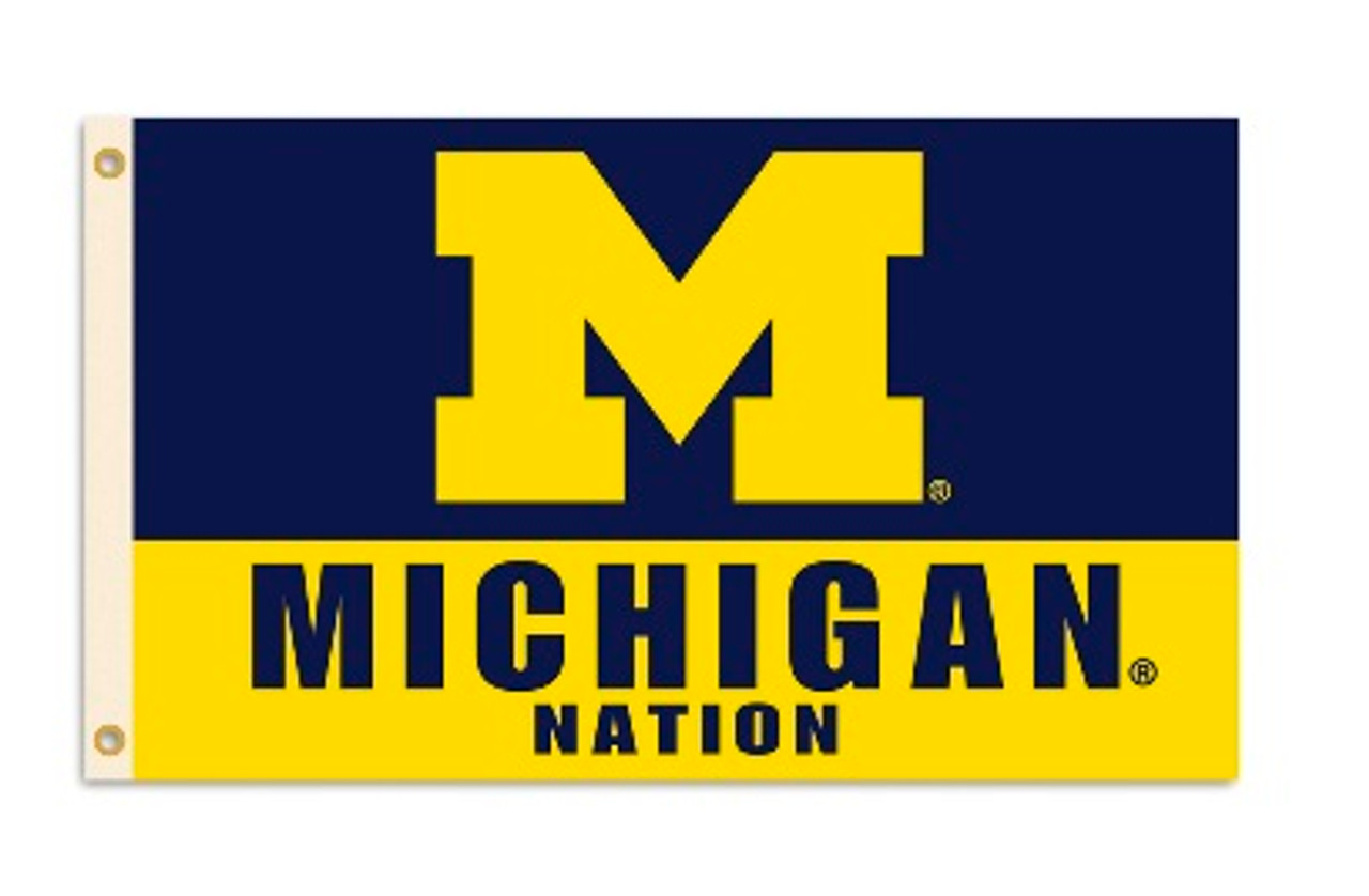 U OF M STATE MICHIGAN NATION 3X5' PRINTED FLAG