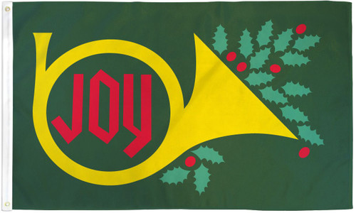 CHRISTMAS JOY HORN 3X5' S-POLY FLAG