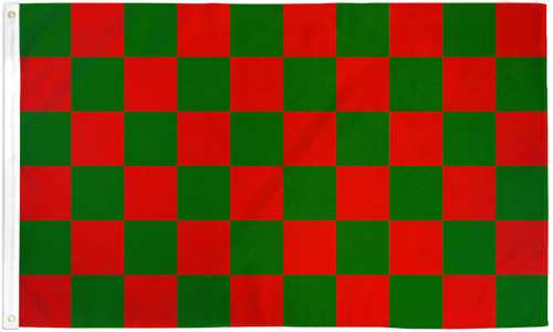 RED/GREEN CHECKERED 3X5' S-POLY FLAG