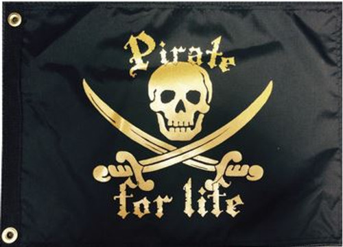 """PIRATE FOR LIFE 12X18"""" BOAT FLAG"""