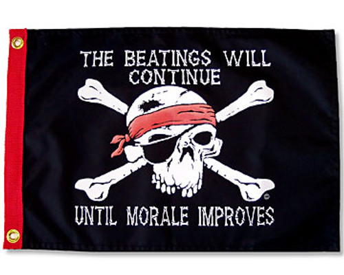 """BEATINGS WILL CONTINUE 12X18"""" BOAT FLAG"""