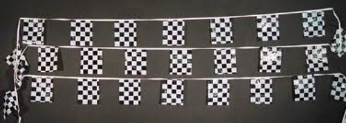 BLACK/WHITE CHECKERED 30' FLAG STRING