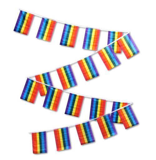 RAINBOW PRIDE 30' FLAG STRING