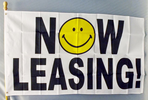 NOW LEASING HAPPY FACE 3X5' S-POLY FLAG