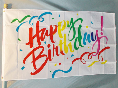 BIRTHDAY CONFETTI 3X5' S-POLY FLAG