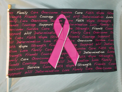 BREAST CANCER AWARENESS 3X5' S-POLY FLAG