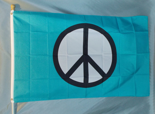 TURQUOISE PEACE SYMBOL 3X5' S-POLY FLAG