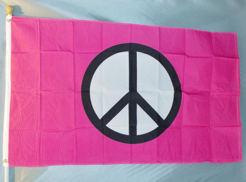 PINK PEACE SYMBOL 3X5' S-POLY FLAG