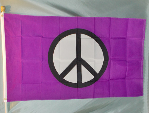 PURPLE PEACE SYMBOL 3X5' S- POLY FLAG