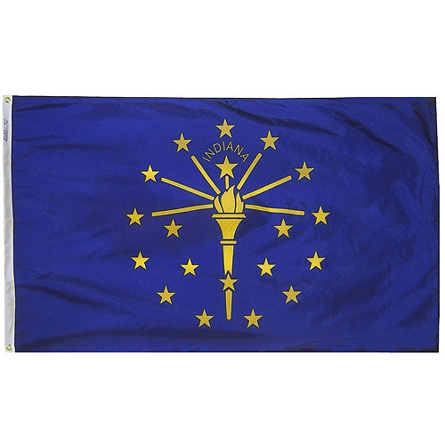 """INDIANA NYLON FLAGS 12X18"""" TO 12X18' US MADE"""