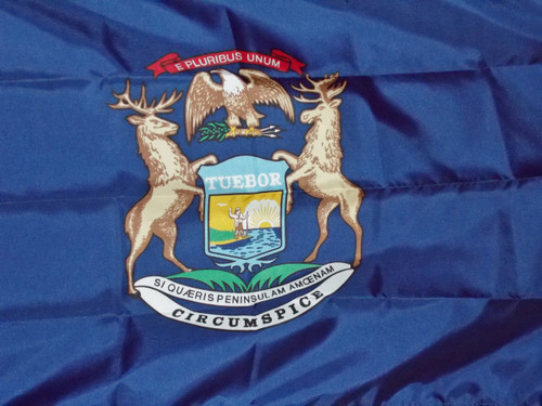 "MICHIGAN NYLON FLAGS 12X18"" TO 10X15' Made in the USA"