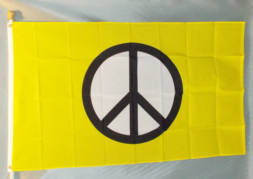 YELLOW PEACE SYMBOL 3X5' S-POLY FLAG
