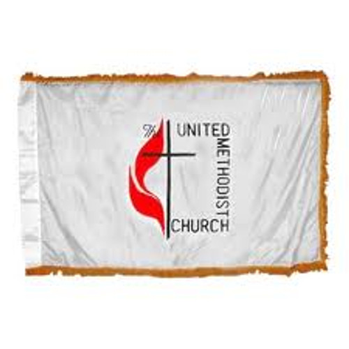 UNITED METHODIST NYLON POLE HEM W/ FRINGE 3X5'  INDOOR FLAG