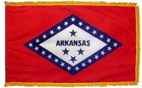 ARKANSAS NYLON POLE HEM W/ FRINGE 3X5'  INDOOR FLAG US MADE