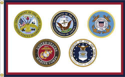 US ARMED FORCES 2X3' TO 8X12' NYLON FLAGS