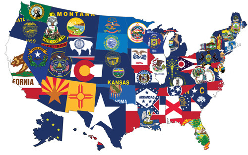 "50 US STATES COMPLETE SET OF NYLON FLAGS 12x18"" to 6x10'"
