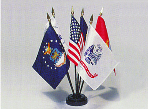 "USA & ARMED FORCES 4X6"" TABLE TOP FLAG COMPLETE SET"