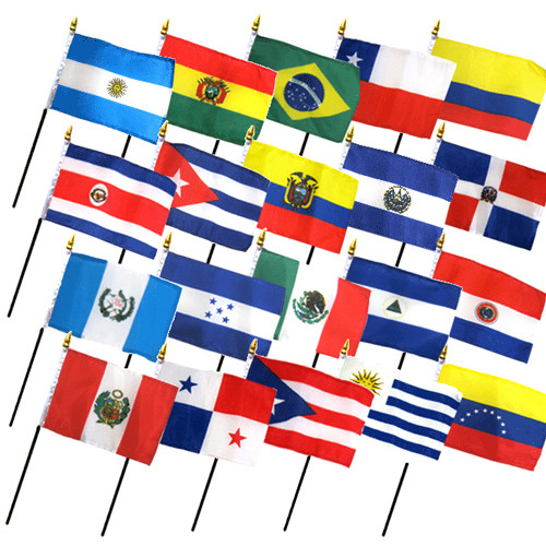 """20 LATIN AMERICA 4X6"""" TABLE TOP FLAGS ONLY SET"""