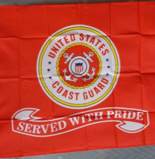 US COAST GUARD SERVED WITH PRIDE 3X5' S-POLY FLAG