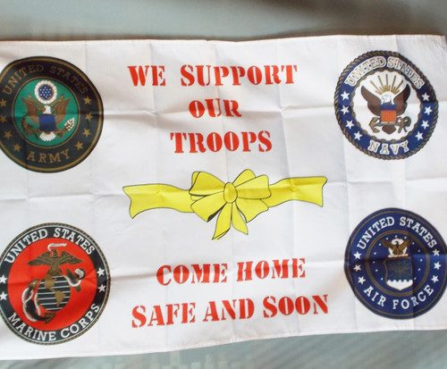 4 BRANCH MILITARY WE SUPPORT 3X5' S-POLY FLAG