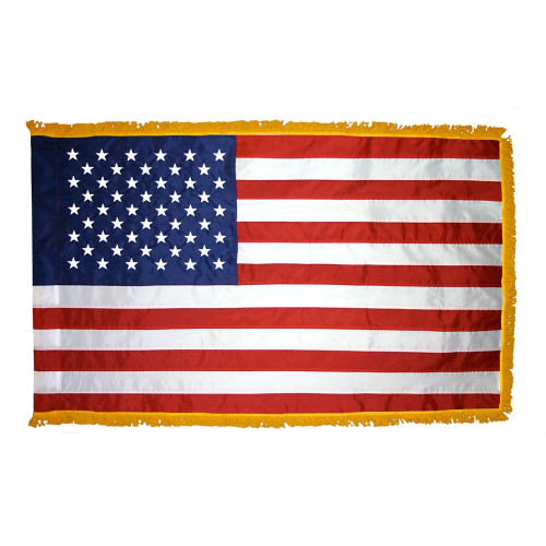 USA NYLON POLE HEM W/ FRINGE 5x8'  INDOOR FLAG