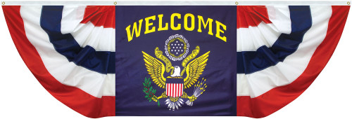 FAN DRAPE 3'X9' WELCOME WITH US SEAL