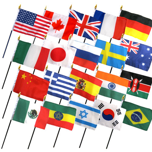 "20 INTERNATIONAL COUNTRIES 4X6"" TABLE TOP FLAGS ONLY SET"